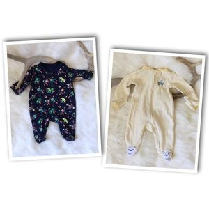 Other - *LOT OF TWO* Newborn Baby Cotton 1-Piece Footies
